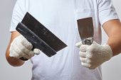 men with putty knife poster