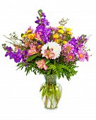 Colorful flower arrangement with spring colors isolated on white.