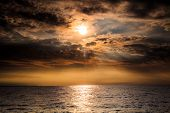 Baltic Sea Sunset Horizon And Cloudy Sky poster