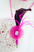 Bridal Decoration Of White Sphere With Pink Boutonniere