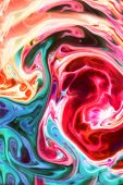 Food Coloring in milk. Food coloring in whole milk creating bright colorful abstract backgrounds. Co poster
