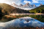 Gorgeous Mountain Lake In Autumn Fog poster