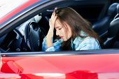 Annoyed Woman In Traffic Jams poster