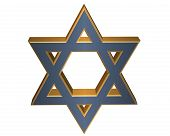 3D Blue And Gold Star Of David Jewish Star