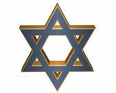 3D Blue And Gold Star Of David Jewish Star