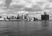 Detroit Skyline BW