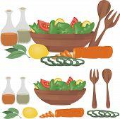 Big summer salad with sliced vegetables