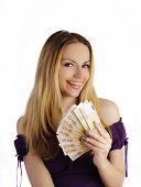 Pretty woman holding money