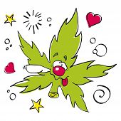 funny laughing marijuana leaf
