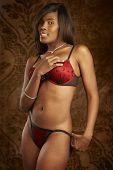 Black Beauty In Red Lingerie