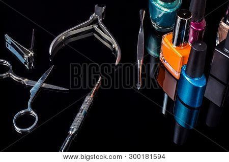 poster of Manicure And Pedicure Tools On Black Background, Isolated. Equipment For Beauty Shop, Cosmetic Salon