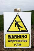 Unprotected Edge Warning Sign With Clipping Path