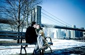 stock photo of brooklyn bridge  - couple in love - JPG