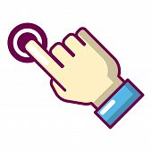 Cursor Hand Click Icon. Cartoon Illustration Of Cursor Hand Click Icon For Web poster