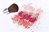 makeup powder with brush white background