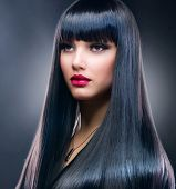 image of hair cutting  - Beautiful Brunette Girl - JPG