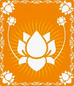 stock photo of pooja  - Illustration of Lotus flowers in radiant and glossy brown light - JPG