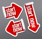 Start now stickers set.
