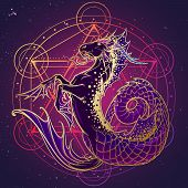 Zodiac Sign Capricorn. Fantastic Sea Creature With Body Of A Goat And A Fish Tail. Sacred Geometry S poster