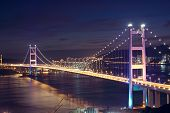 foto of tsing ma bridge  - Beautiful night scenes of Tsing Ma Bridge in Hong Kong - JPG