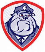 Cartoon Police Dog Watchdog Bulldog Shield