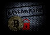 Ransomware Text With Red Lock And A Bitcoin poster