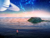 Alien Landscape Of Boat With Red Sail Sailing Near A Small Island With Planet And Galaxy In The Sky. poster
