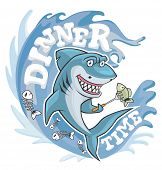Dinner Time Shark Illustration. Cute Smiling Hungry Shark, Going To Eat Fish On Fork. poster