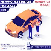 Banner Advertises Payment For Automotive Full Service. Woman Giving Cash Master For Repaired Car Buy poster