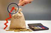 Money Bag With The Word Gdp And Up Arrow. Technological Progress, Increasing The Level Of Workers, I poster