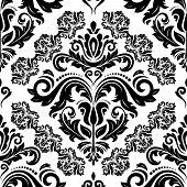 Classic Seamless Vector Pattern. Damask Orient Ornament. Classic Vintage Black And White Background. poster