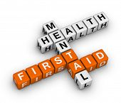stock photo of mental_health  - mental health first aid 3d crossword - JPG