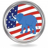 Elephant Political Symbol Of Republicans On Usa Flag Background - Round Metallic Icon - Vector. Us P poster