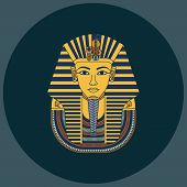 Colorful Vector Burial Mask Illustration Egyptian Golden Pharaohs Mask Icon Flat Isolated On Backgro poster