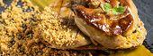 Fried Goose Liver .foie Gras With Mango Puree. poster