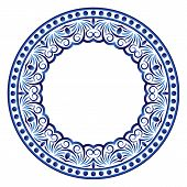 Ceramic Tile Pattern. Decorative Round Ornament. White Background With Art Frame. Islamic, Indian, A poster