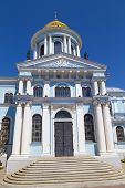 Ancient Savior Transfiguration Cathedral Outside At Bright Sunny Day ,  General View. City Sumy, Ukr poster