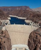 The historic Hoover Dam on a the Colorado River and Lake Meade Arizona