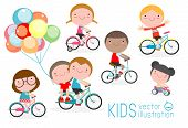 Happy Kids On Bicycles, Child Riding Bike,kids Riding Bikes, Child Riding Bike, Kids On Bicycle Vect poster