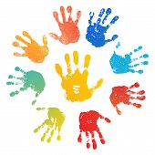 Hand Rainbow Print Sun, Isolated On White Background. Color Child Handprint. Creative Paint Hands Pr poster