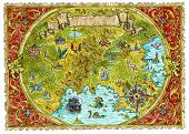 Watercolor Pirate Treasures Map Of Fantasy World. Hand Drawn Graphic Illustration Of World Atlas Wit poster