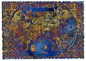 Blue And Gold Fantasy Pirate Map Of Treasures. Hand Drawn Graphic Illustration Of World Atlas With V poster