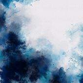 Hand Painted Blue Watercolor Background. Watercolor Wash. Blue Brush Strokes Background Design Isola poster