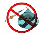 Say No To Nicotine Addiction. Stylized Cigarette As A Medical Syringe With A Needle, One Drop Of Nic poster