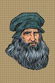 Leonardo Da Vinci, Italian Painter, Inventor And Sculptor. Comic Cartoon Pop Art Retro Drawing Illus poster