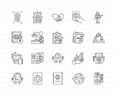 International Affairs Line Icons, Signs, Vector Set, Outline Illustration Concept poster