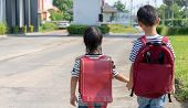 Happy Smiling Kid In Glasses Is Going To School For The First Time. Child Boy With Bag Go To Element poster
