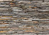 stock photo of shale  - pattern of decorative slate stone wall surface - JPG