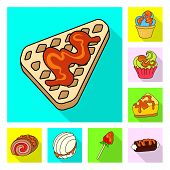 Vector Illustration Of Confectionery And Culinary Sign. Collection Of Confectionery And Colorful Sto poster