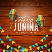 Festa Junina Illustration With Party Flags And Paper Lantern On Vintage Wood Background. Vector Braz poster